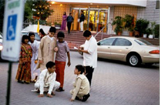 Picture of Indian children playing outside the Vishnu Temple, Toronto